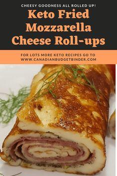 Keto Fried Mozzarella Cheese Roll-ups - Canadian Budget Binder Diet Plan Menu, Keto Meal Plan, Keto Foods, Low Carb Recipes, Diet Recipes, Healthy Recipes, Pizza Recipes, Cena Keto, Keto Snacks