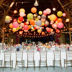 Paper lanterns bunched in the center