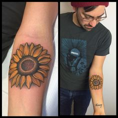Sunflower Tattoo by Laura Jade - A memorial tattoo for his sister, her favorite flower.