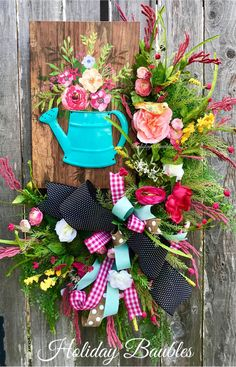 A personal favorite from my Etsy shop https://www.etsy.com/listing/599556899/spring-wreath-spring-watering-can-wreath