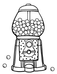 Gumball Machine Line Art Coloring pages, Coloring pages