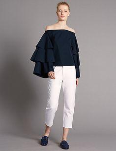 10dbd0fce6ac Pure Cotton Tiered Sleeve Bardot Top