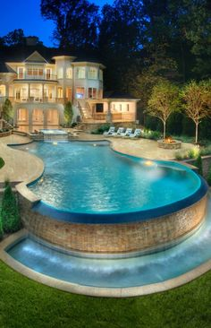 You have a lovely pool, so let's help you maintain it. The bigger The pool is, the bigger the catch basin should be. If you would like such a pool in your backyard, you should be prepared to devote more money on it.
