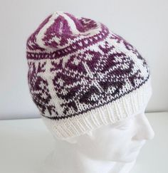 Violet fair Isle knit hat is made from quality Norwegian wool and alpaca yarn. Design by Olga Begak. Large Adult size — 23 – 25 inches / cm circumference Length — inches / 27 cm Weight — oz / 73 g Make-up — Wool, Alpaca. Fair Isle Knitting, Hand Knitting, Hand Knitted Sweaters, Knitted Hats, Red Crafts, Ski Hats, Stylish Hats, Chunky Yarn, Alpaca Wool