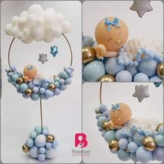 Good Night – Baby Shower Table Centrepieces - All About Decoration Baby Party, Baby Shower Parties, Baby Shower Themes, Baby Boy Shower, Baby Shower Table Centerpieces, Balloon Centerpieces, Baby Balloon, Baby Shower Balloons, Baby Shower Balloon Decorations