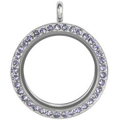 ORIGAMI OWL LARGE SILVER TWIST LIVING LOCKET BASE + FACE WITH TANZANITE SWAROVSKI CRYSTALS
