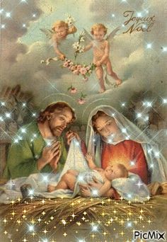 The Nativity and the angels Merry Christmas Gif, Christmas Poems, Christmas Nativity Scene, Christmas Scenes, Christmas Pictures, Christmas Angels, Vintage Christmas, Jesus And Mary Pictures, Pictures Of Jesus Christ