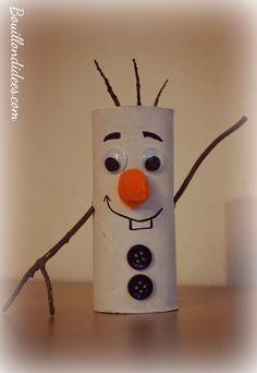 DIY Noël, bonhomme de neige Olaf reine des neiges en rouleau papier toilette