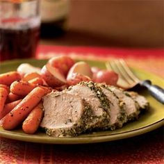 rosemary and garlic pork tenderloin - made this tonight -- deeelicious! For 2 tenderloins, use 3 tbsp fresh rosemary, chopped finely. Add to 10 cloves minced garlic. Season pork with salt and pepper. Cut slits and rub mixture into them. Rub rest onto outside of pork. Bake 20 mins at 475.