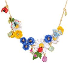 Les Nereides Champetre Butterfly, Flower and Crystal Necklace