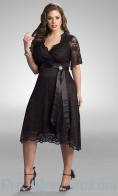 Plus Size Bridesmaid Dresses With Sleeves | ... Knee Length Middle Sleeves Band Beautiful Plus Size Prom Dresses Cheap by kari