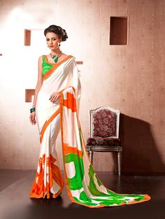 White Silk Printed Saree - Regular Wear Sarees - Regular Wear
