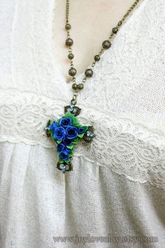 cross necklace blue flowers necklace  antique by Joyloveclay, $30.00