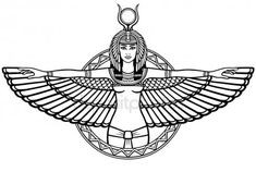 Animation portrait of the ancient Egyptian winged goddess. The linear drawing isolated on a white background. Vector illustration, be used for coloring book. Goddess Isis Tattoo, Isis Goddess, Egyptian Tattoo Sleeve, Egypt Tattoo, Egyptian Isis, Egyptian Symbols, Nefertiti Tattoo, Egyptian Drawings, Anubis Tattoo
