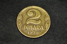 Yugoslavia 2 Dinara 1938 (large crown) Size: mm Krause and Mishler number: KM# 20 Rare Coins, Crown, Personalized Items, The Originals, Retro, Unique Jewelry, Handmade Gifts, Vintage, Kid Craft Gifts
