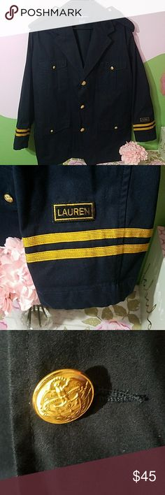 💙💜Adorable Ralph Lauren Coat/Blazer💙💜 This could probably be worn by a male or female EUC New I never got to wear this,  it's too big for me  Navy Ralph Lauren with gold buttons representing the Navy, you can wear as a coat or blazer with some jeans or dress it up.. Very fashionable There are adjustable straps in the back to make tighter or loose This says large but it could also be a XL Jackets & Coats