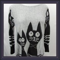"Whimsical cat sweater top ➖CONDITION: NWOT ➖SIZE: Small/medium (see measurements)  ➖STYLE: Whimsical cat sweater: gray sweater with black cats on the front and back as well the sides having gathered up. SUPER SOFT   ➖MEASUREMENTS :       ➖LENGTH: 28@      ➖BUST: 18""      ➖SHOULDER ➡️ SHOULDER :17"" Sweaters"
