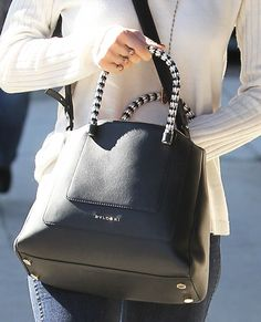 Jessica Alba Leather Tote - Jessica Alba carried a black leather Bulgari tote while on a coffee run in Beverly Hills. Hermes Handbags, Burberry Handbags, Purses And Handbags, Burberry Bags, Designer Handbags, Replica Handbags, Designer Bags, Luxury Handbags, Coach Handbags