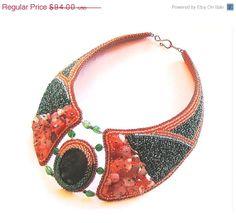SALE 5 Necklace Orange Green Jewelry Seed bead by DolgovaSvetlana, $89.30