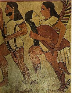 Ancient Etruscan Mural with Hermes. The Etruscan civilization appears to have been very influenced by the Greeks. This is apparent in their art, especially paintings like the one pictures above, which even characterizes a Greek god, Hermes.
