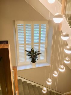 We installed these beautiful full height shutters in two windows up the staircase of this customer's gorgeous home in the Lake District White Shutter Blinds, White Shutters, Wooden Shutters, Window Shutters, Blinds For Windows, Bay Window Living Room, Landing Decor, Fitted Blinds, Stairs Window