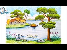 How to draw A Riverside Landscape with Oil Pastels step by step Oil Pastel Drawings Easy, Oil Pastel Paintings, Easy Drawings For Kids, Pastel Art, Oil Pastels, Girl Drawing Sketches, Doodle Art Drawing, My Drawings, Art Village