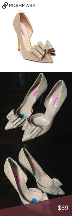 Betsey Johnson Prince D'Orsay Evening Pumps Heels are beautiful and they were floor models so they show a tiny bit of wear on heels and bottoms, other than that they are perfect. Super cute for special events. Betsey Johnson Shoes Heels