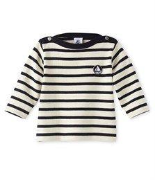 Uniseks marinetruitje voor baby's in zware jersey beige Coquille / blauw Smoking - Petit Bateau