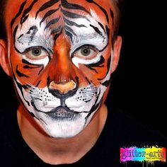 Tiger Face painting - arty face painting / face art by Glitter-Arty Face Painting, Bedford, Bedfordshire Face Painting For Boys, Body Painting, Tiger Face Paints, Animal Makeup, Glitter Face, Boy Face, Henna Artist, Face Art, Wonderland