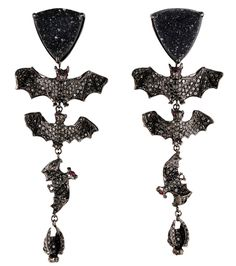 """Lydia Courteille """"Bat"""" earrings in black diamonds, drouzy agate, rubies and blackened gold. From the """"Black Mass in Paris"""" collection."""