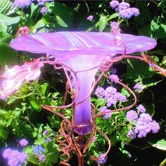 Handmade HUMMINGBIRD FEEDER, Fused Glass and Copper, LAVENDERSHOP: GLORIOUS GLASS GARDEN
