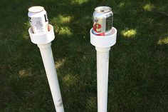 Backyard Makeover With A Fun Game And Cup Holders Pipes Pvc with Pvc Drink Holder Pipe And Fitting Outdoor Crafts, Outdoor Games, Outdoor Projects, Pvc Pipe Crafts, Pvc Pipe Projects, Outdoor Drink Holder, Diy Jardin, Backyard Games, Backyard Ideas