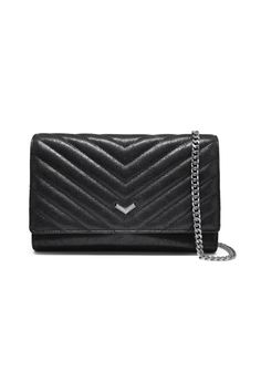 Function comes in many (fashionable) forms with this Wallet on a chain! Outfitted with everything you need in an everyday wallet it can also doubles as a classic shoulder bag or a sleek clutch.   Imported leather. Gunmetal hardware. Flap and snap closure. Detachable shoulder strap chain. Internal zip-around compartment mirror and multi functional credit card and slip pockets.    Measurements:   - Height: 5.5 in / 14 cm   - Length: 8.5 in / 22 cm   - Depth: 1 in / 3 cm   - Strap Drop: 22 in…