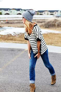stripes, skinnies, booties, slouchy hat.