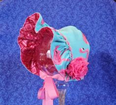 Flamingos Baby Bonnet Aqua and Coral by AdorableandCute on Etsy
