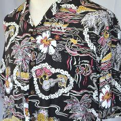Surfer Hula Ukelele Lei Large Bold Graphic Hawaiian Shirt   Hilo Hattie Palms Coco
