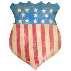 1stdibs | Large Old Trade Sign American Flag Shield Folk Art