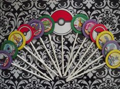 Easy DIY Grooms Cupcakes.  fun toppers of all the nerdy stuff we like. Pokemon Cupcake Toppers - 6 inch Sticks - Children's Birthday Party Supplies. $9.99, via Etsy.
