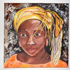 """Peinture originale portrait """"beauté africaine"""" acrylique sur toile"""