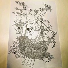 What an awesome #penandink #pirate #airship #illustration by @in_kult! So many great details on this #flyingship. It's like a #hidden picture game!  The fish #figurehead with the #lantern in its mouth; the little guy on top of the barely contained #balloon; the #polkadot #eyepatch on the #jollyroger #skull... and just the #wood detail on the ship is massively impressive. Great work!  #PirateAirship