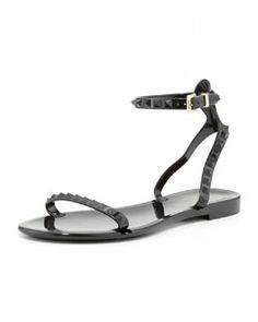 X1XMC Valentino Rockstud Ankle-Wrap Jelly Sandal, Black