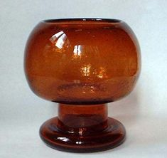 Kaj Franck (Finnish, A Large Glass Sargasso Goblet Made at the Nuutajarvi glassworks, Finland, circa 1966 inches high. My Glass, Amber Glass, Glass Art, Glass Design, Design Art, Minnen, Scandinavian Art, Glass Dishes, Glass Collection