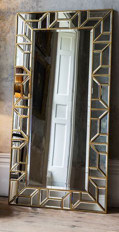 Large art deco style leaning mirror with gold detail bedroom mirror Mirrors, Wall Mirrors & Full Length Mirrors Art Deco Bedroom, Gold Bedroom, Bedroom Decor, Mirror Bedroom, Art Deco Spiegel, Spiegel Design, Spiegel Gold, Diy Nativity, Living Room Mirrors