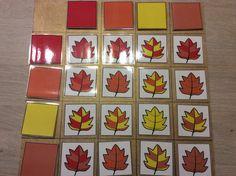 Matrix herfstblaadjes. Sorteren volgens 2 kleuren *liestr*