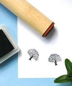 Winter Oak  Rubber Stamp by norajane on Etsy, $3.50