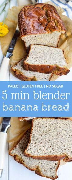 This 5 minute easy to make paleo banana bread is a favorite recipe! With it's soft and moist texture and breezy banana flavor, it's hard not to love! Grain free, dairy free, and made with no sugar! Naturally sweet and option to add organic stevia liquid.
