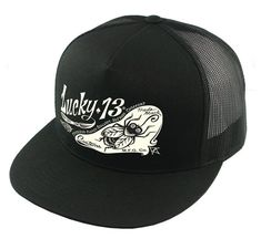1b186fcc Buy the The PIN-FLY two-tone poplin/mesh snapback trucker cap with transfer  by Lucky 13 in black/black color