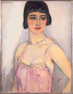 Jan Sluijters - Vrouw met pagekapsel, in lila onderjurk, ca. 1928