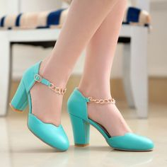 2015 Womens Mary Janes Chain Chunky Block Heels Pump Shoes Sandals Lady Plus Size