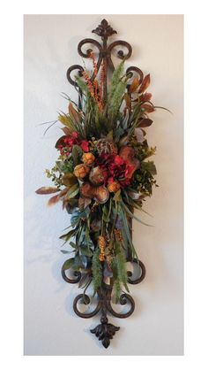 Metal Sonic Floral Arrangement by angelia Silk Floral Arrangements, Dried Flower Arrangements, Tuscan Design, Tuscan Style, Tuscan Decorating, French Country Decorating, Style Toscan, Tuscany Decor, World Decor
